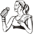 Woman drinking from a shaker - sports nutrition vector image
