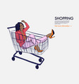 woman in shopping cart fashion afro girl in jumbo vector image vector image