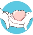 heart lies in the hands on a blue background vector image