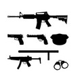 black silhouette of police gun and equipment vector image