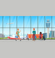 airport waiting room departure lounge with chairs vector image vector image