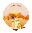 autumn organic clean food rural landscape vector image