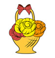 basket flowers icon cartoon vector image vector image