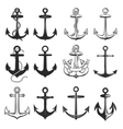 Big set of vintage style anchors isolated on white vector image vector image