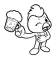 black and white cock mascot holding a beer toast vector image vector image