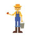 cartoon farmer with apple and basket vector image