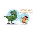 cartoon stone age bodybuilding competition cave vector image