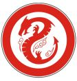 chinese dragon in a circle vector image vector image
