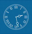 clock face with roman numerals white drawing on vector image vector image