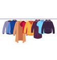 clothes on hangers storage men and women vector image