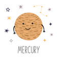 cute planet mercury planet with hands and eyes vector image vector image