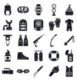 diving equipment icon set simple style vector image