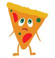 emoji a sad pizza or color vector image vector image