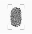 fingerprint icon print of finger with frame vector image vector image
