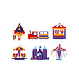 flat set of different attractions rides and vector image