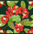 floral element on dark green seamless background vector image vector image