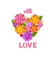 floral heart shape spring greeting card with vector image vector image