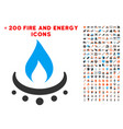 gas burner jet flame icon with bonus energy set vector image
