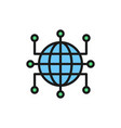 global world with closed contacts blockchain vector image vector image