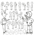 Hand drawn comic collection of men vector image