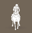 horse racing jockey riding horse graphic vector image