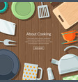 kitchen utensils flat icons on wooden vector image vector image