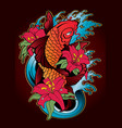 koi fish tattoo japanese style color vector image vector image