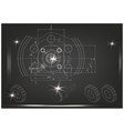machine-building drawings on a black background vector image vector image