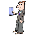 man with phablet vector image vector image