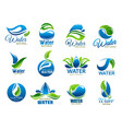 natural and mineral water icons vector image vector image