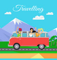 people traveling minibus vector image vector image