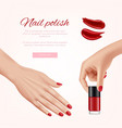 polish nails ads woman beauty cosmetics fashion vector image vector image