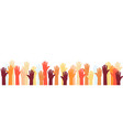 raised hands volunteer group colorful banner vector image