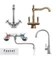 realistic faucet designs set vector image vector image
