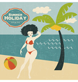 retro woman on the beach vector image vector image