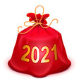 santa red bag 2021 with gifts full knotted sack vector image vector image