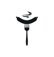 Sausage simple black icon on white background vector image