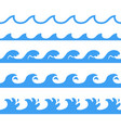 seamless blue wave pattern vector image vector image