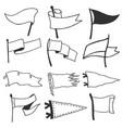 set 12 pennants retro monochrome labels hand vector image vector image