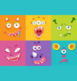 set of monster facial expression vector image
