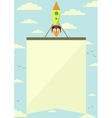Space Rocket with a Banner Flying Upwards vector image vector image