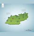 stylized map czech republic isometric 3d green vector image vector image
