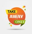 take away only sticker coronavirus pandemic vector image vector image