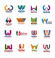 w letter icons and signs creative fonts vector image