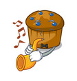 with trumpet mufin blueberry mascot cartoon vector image vector image