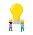 workers holding bulb creativity vector image