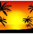 Sunset on island vector image