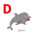 Letter D Dolphin Zoo alphabet English abc with vector image