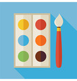 Flat Palette with Colorful Paints and Paintbrush vector image