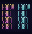 2021 happy new year neon text new year vector image vector image